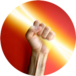 dynamic light beaming through the hand symbolizes the active learning model